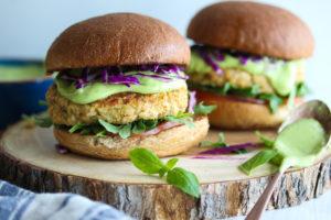 Cauliflower Hummus Burgers with Green Goddess Sauce