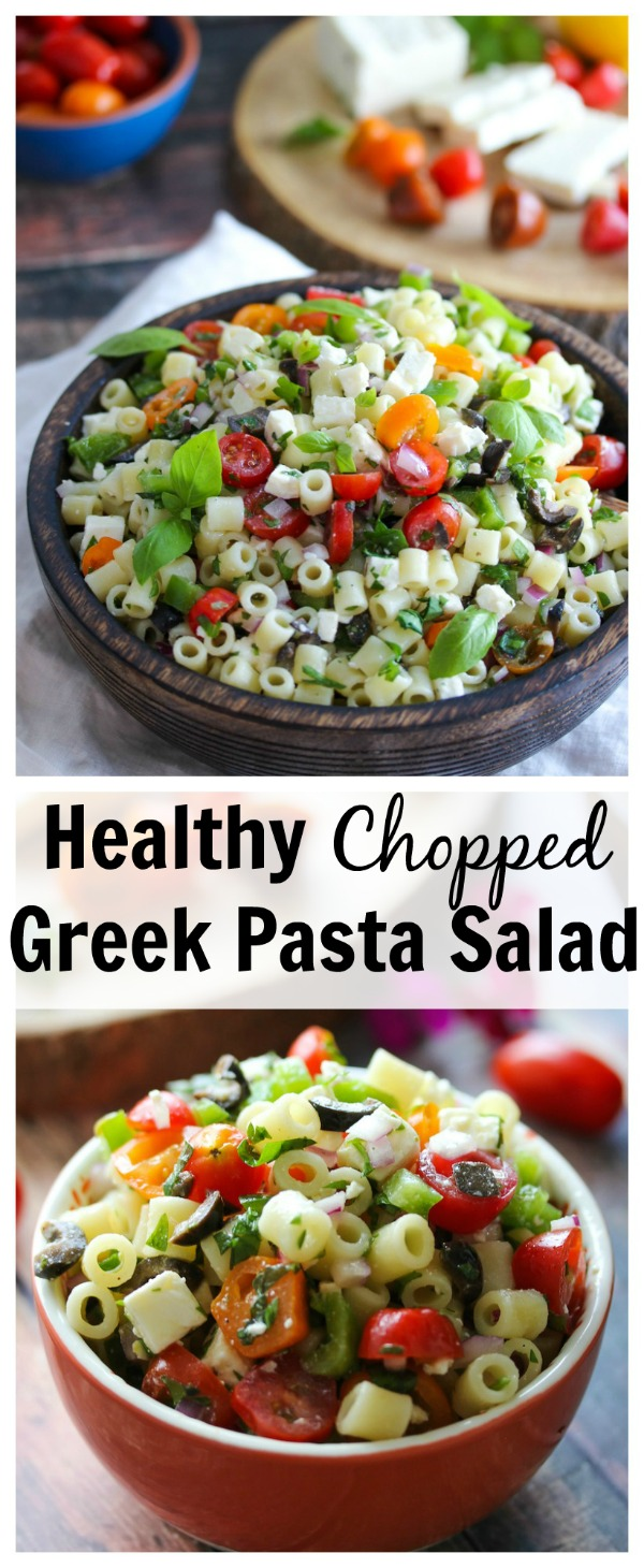 Chopped Greek Pasta Salad - perfect for summer cookouts, pot lucks and weekday lunches!