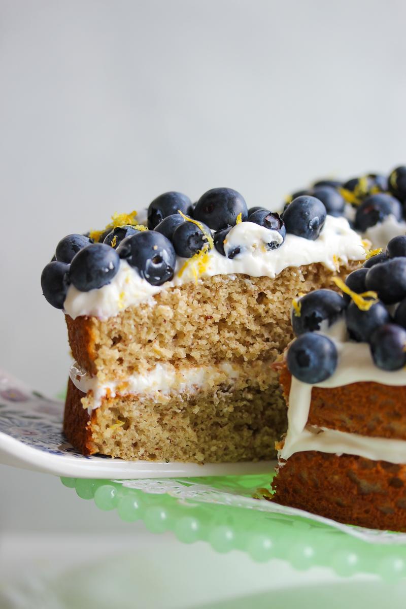 Gluten-Free Lemon Blueberry Greek Yogurt Cake