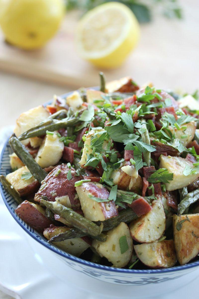 Loaded Roasted Potato Salad (mayo-less)