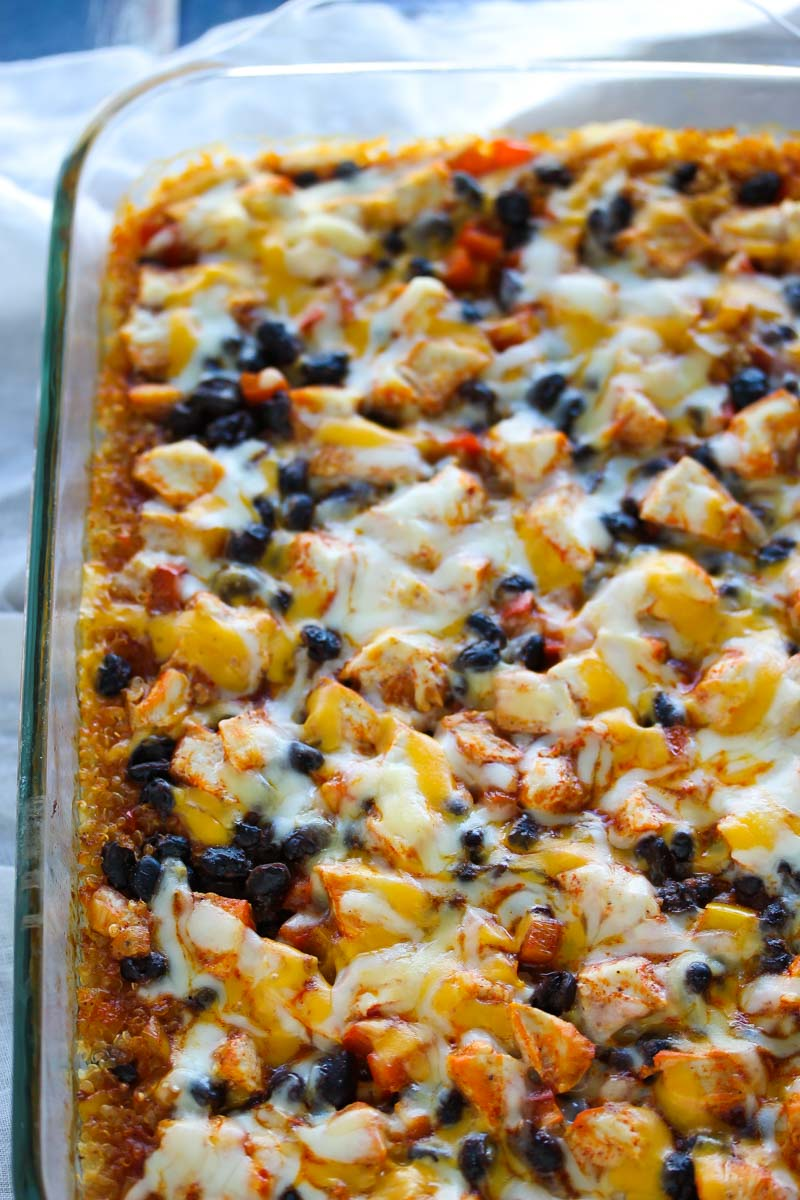 Easy Chicken Enchilada Quinoa Bake   dishingouthealth.com