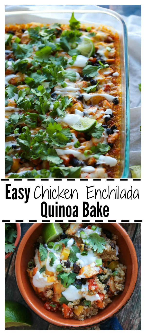 Easy Chicken Enchilada Quinoa Bake - high protein, high fiber and naturally gluten free. This delicious meal is perfect for weeknights and even better for leftovers! | dishingouthealth.com