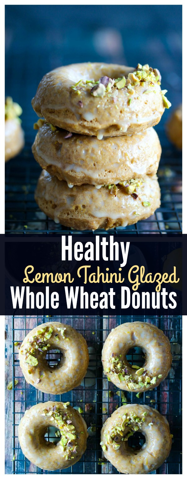 Healthy whole wheat donuts made with protein and fiber-rich ingredients topped with a delicious sweet lemon tahini glaze | dishingouthealth.com