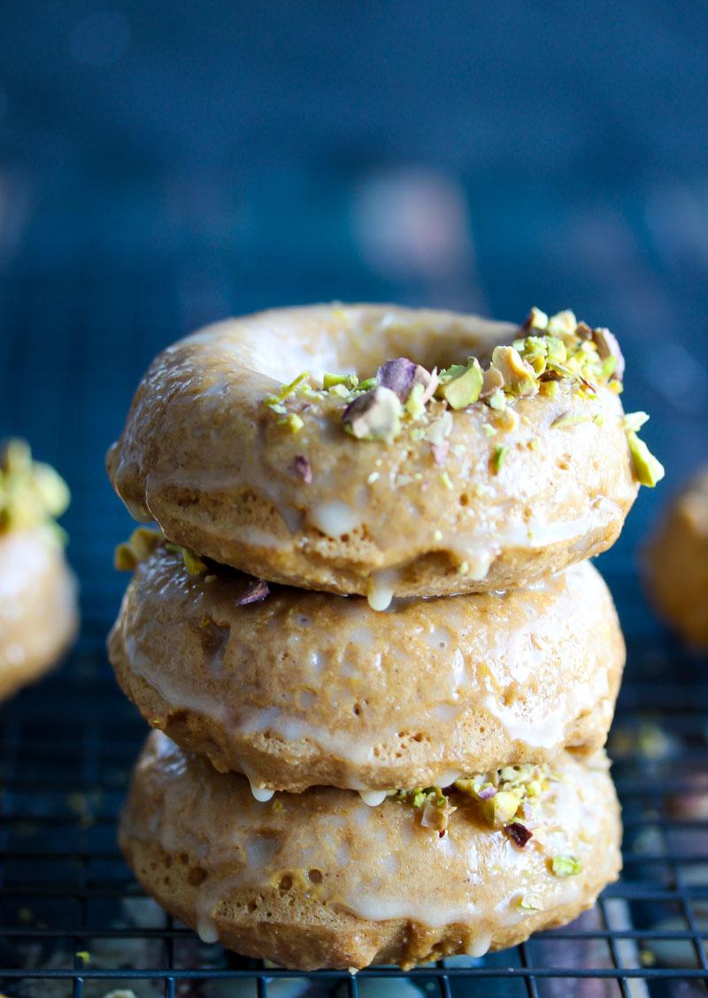Lemon Tahini Glazed Whole Wheat Donuts | dishingouthealth.com