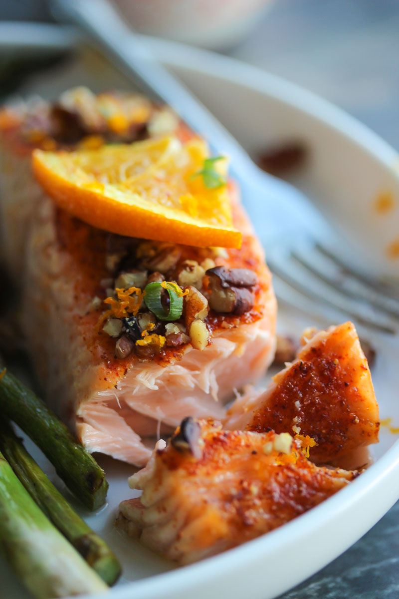 15 Minute Orange Maple Glazed Salmon | dishingouthealth.com