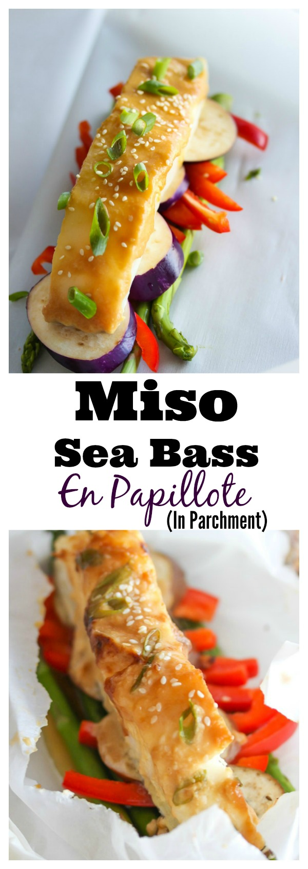 Baked in parchment paper, miso-marinated sea bass and vegetables retain moisture while capturing the essence of Asian-inspired flavors. An easy, healthy weeknight meal. | dishingouthealth.com