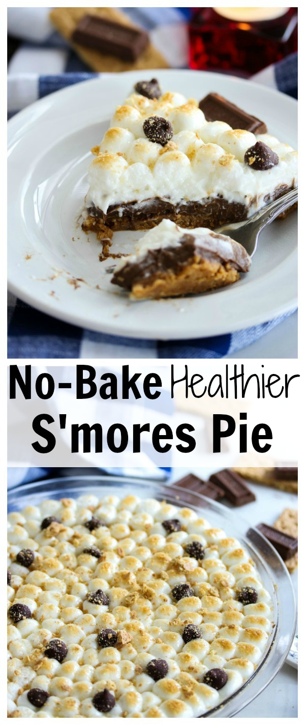 No-Bake Healthier S'mores Pie is the ultimate guilt-free summer treat! | dishingouthealth.com