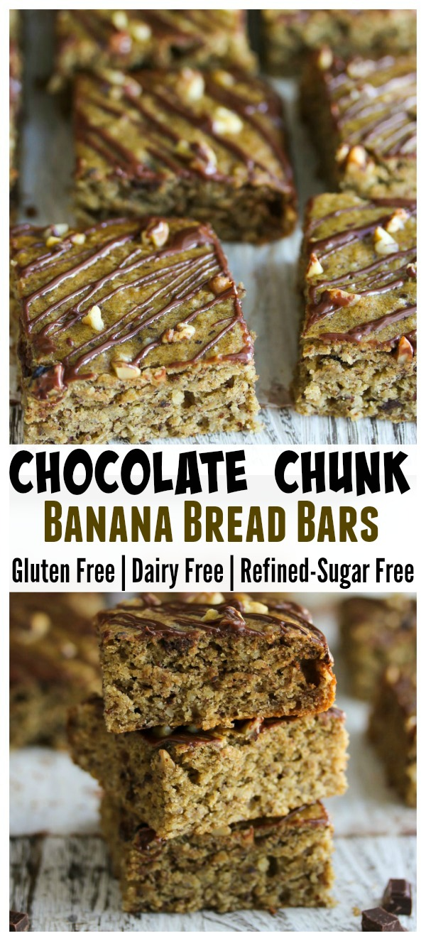 Chocolate Chunk Banana Bread Bars; gluten free, dairy free and refined-sugar free. Perfect for weekday breakfasts or nutritious snacks!   dishingouthealth.com