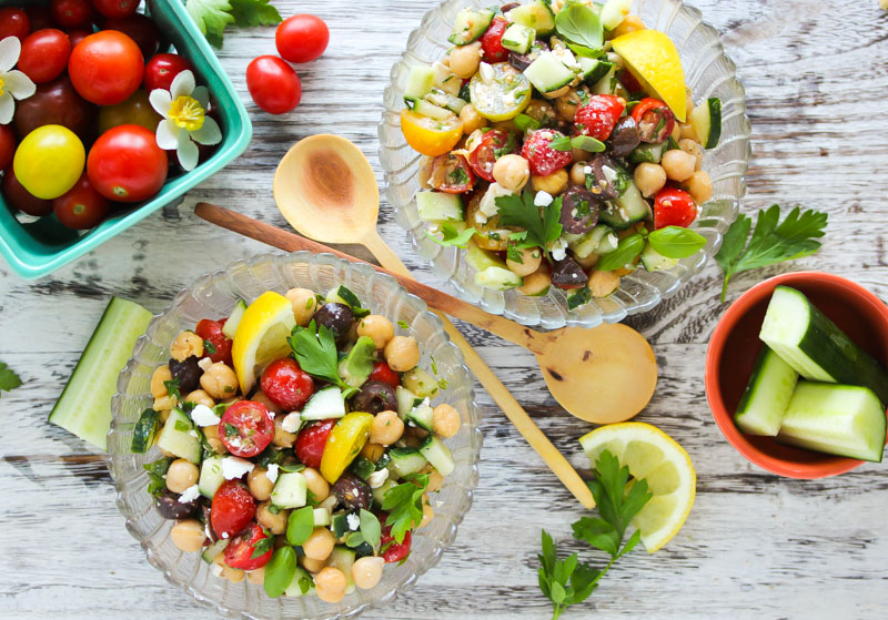 15 Minute Mediterranean Chickpea Salad   dishingouthealth.com