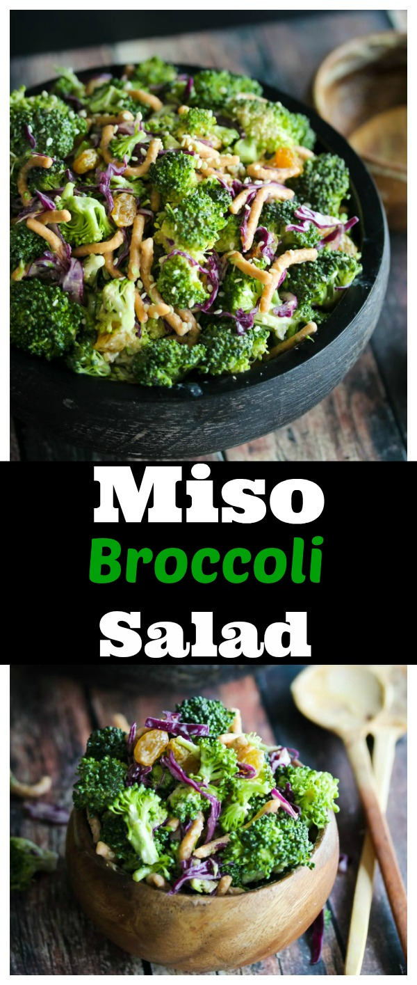 Miso Broccoli Salad; a low-calorie, no-fuss side dish that is easy to make and packed with flavor! | dishingouthealth.com
