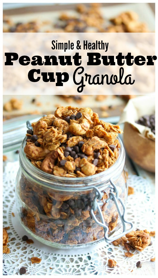 Peanut Butter Cup Granola; simple, nutritious and delicious! | dishingouthealth.com