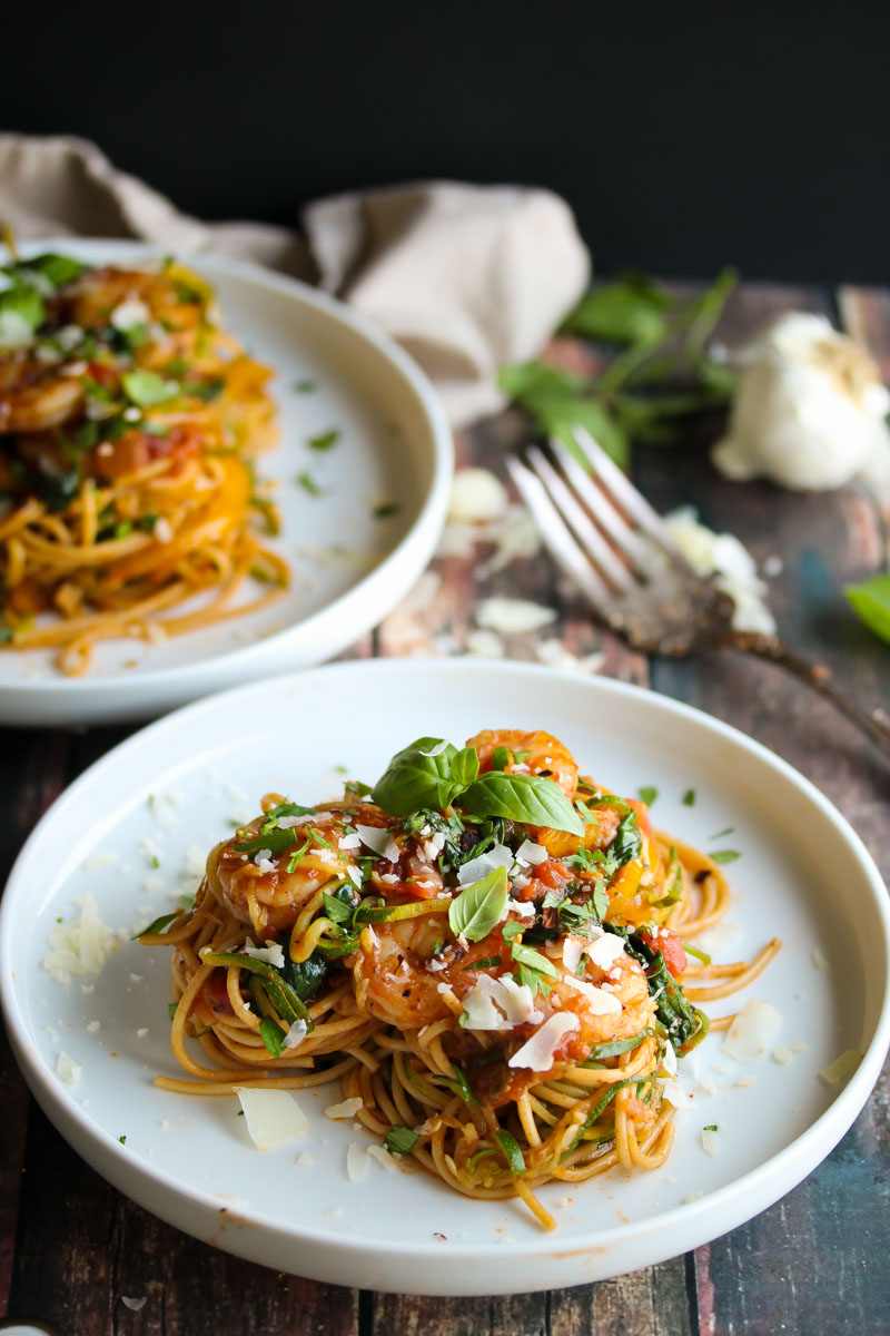 30 Minute Shrimp Pasta Primavera with Zoodles | dishingouthealth.com