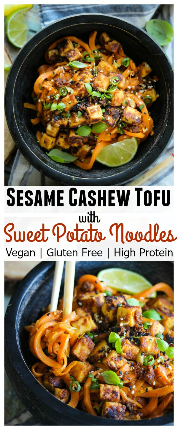 Sesame Cashew Tofu with Sweet Potato Noodles; vegan, gluten free, high protein and kid friendly! | dishingouthealth.com