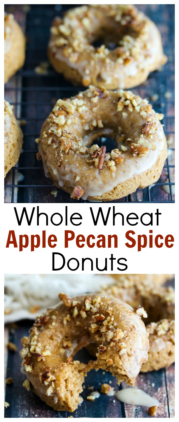 Whole Wheat Apple Pecan Spice Donuts; a healthier, baked Fall treat made with wholesome ingredients | dishingouthealth.com