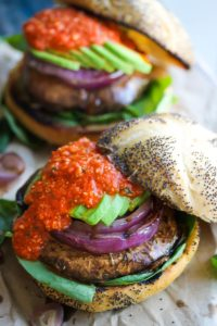 Portobello Romesco Burgers | dishingouthealth.com