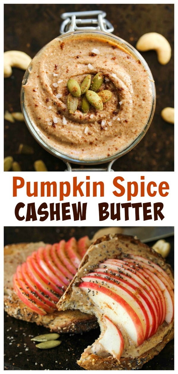 Pumpkin Spice Cashew Butter; only 4 ingredients in this delicious, fall-inspired homemade nut butter | dishingouthealth.com
