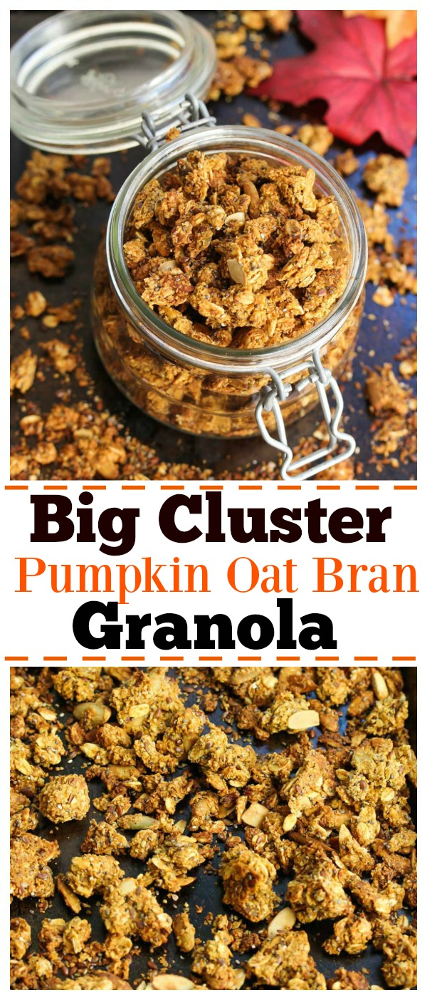 Big Cluster Pumpkin Oat Bran Granola; nutritious granola powered by fall-flavors. Perfect for breakfast or snacks! | dishingouthealth.com