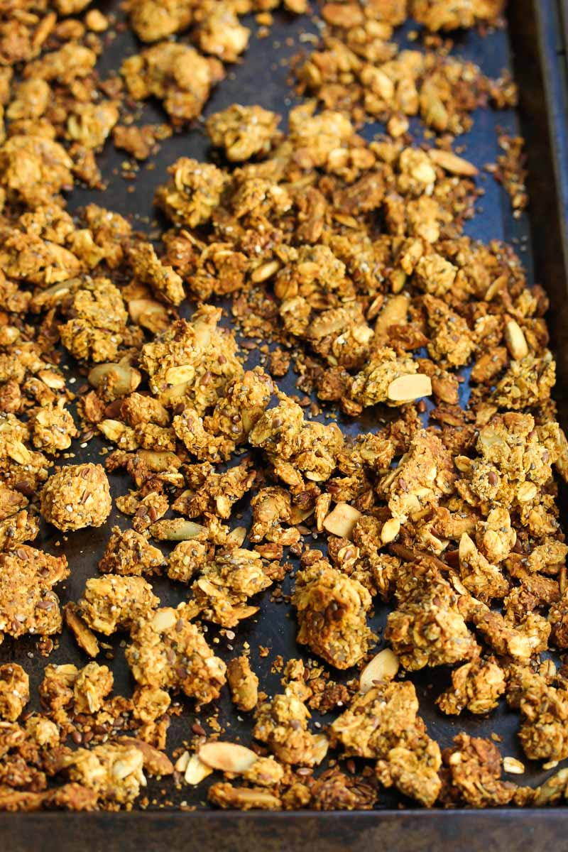 Big Cluster Pumpkin Oat Bran Granola | dishingouthealth.com