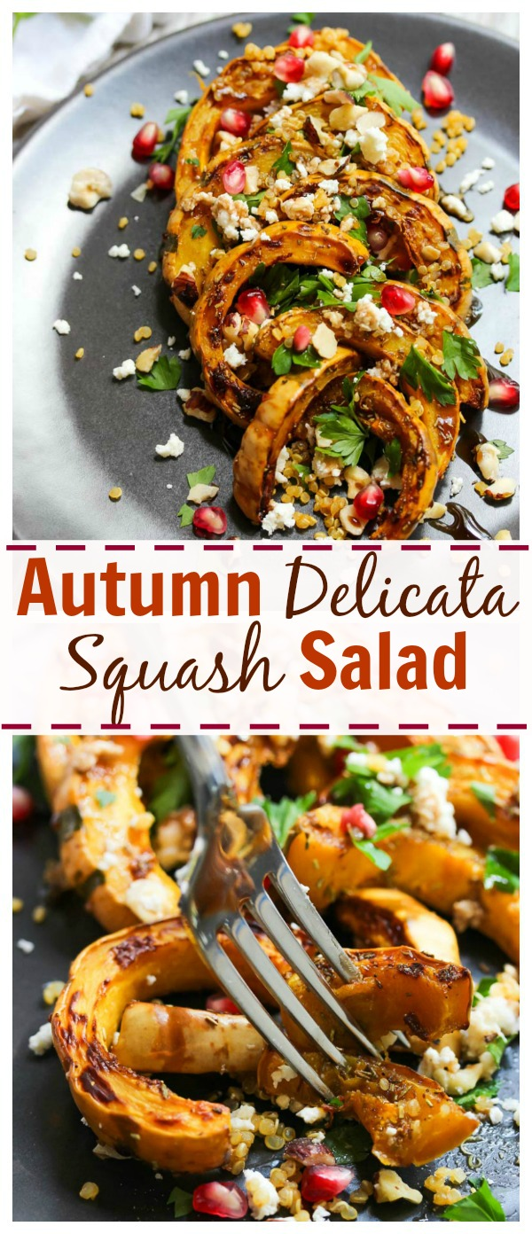 Autumn Delicata Squash Salad with goat cheese, herbs, nuts, quinoa and balsamic. Vegetarian and gluten-free. | dishingouthealth.com