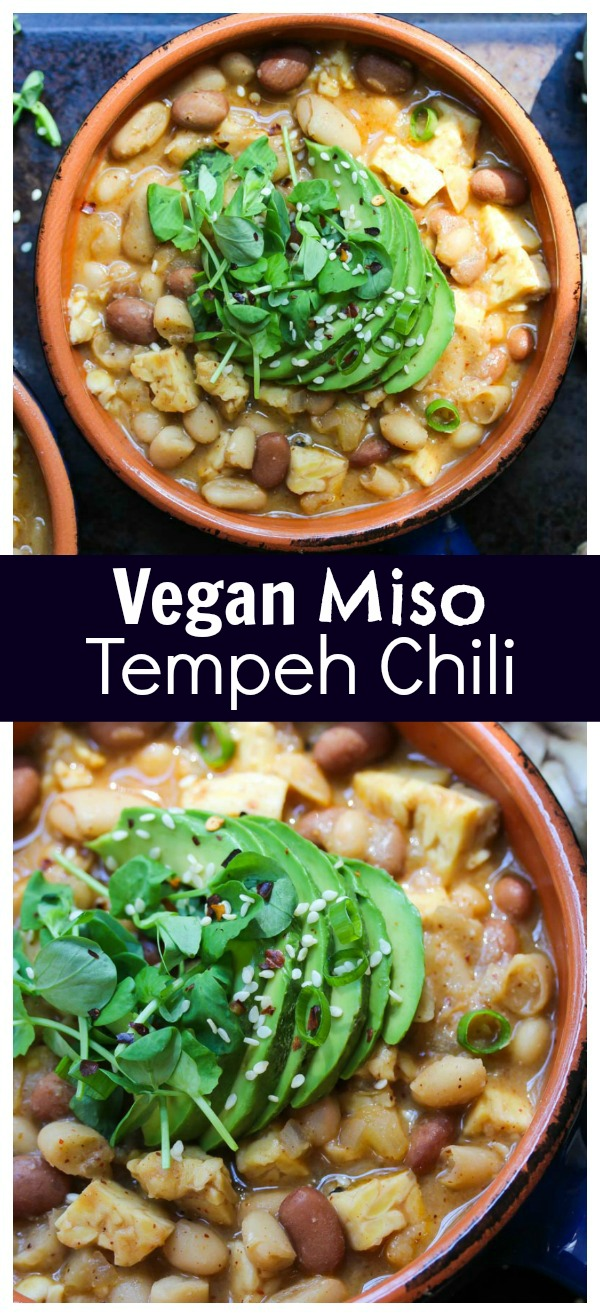 Miso Tempeh Chili (Vegan, Gluten Free, Kid friendly) | dishingouthealth.com