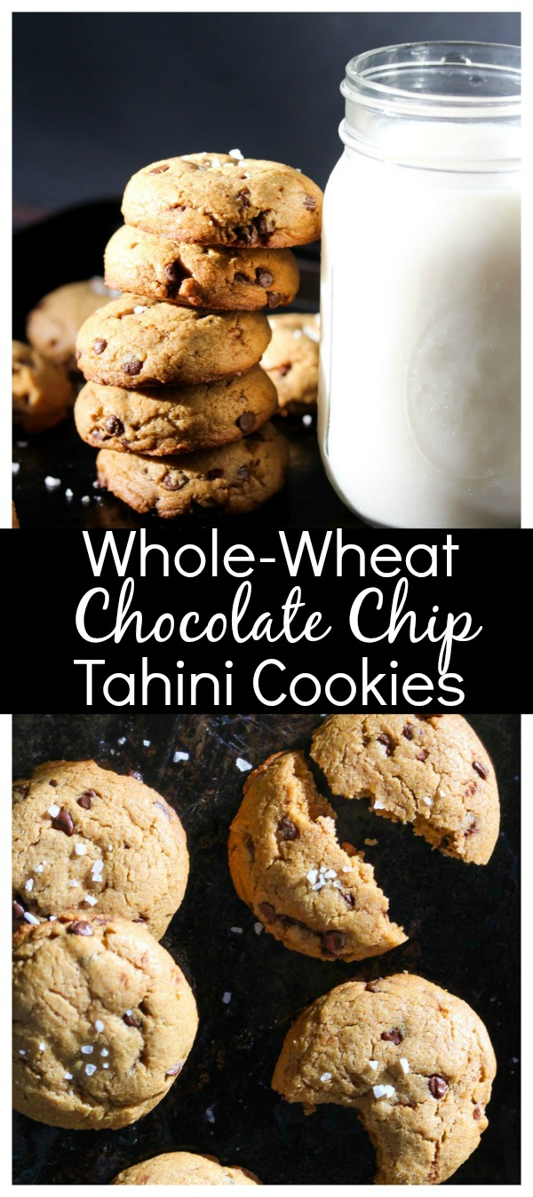 Whole Wheat Chocolate Chip Tahini Cookies; delectably nutty with rich depth of flavor, these whole-wheat cookies are nutritious and kid-friendly. | dishingouthealth.com