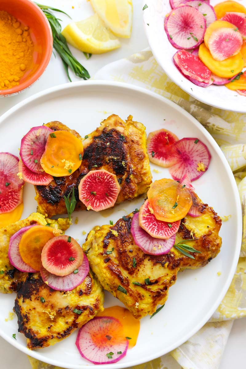 Turmeric Chicken with Lemon Radish Salad