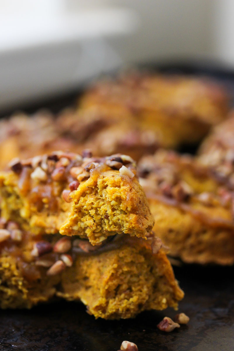 Vegan Sweet Potato Pecan Pie Donuts   dishingouthealth.com