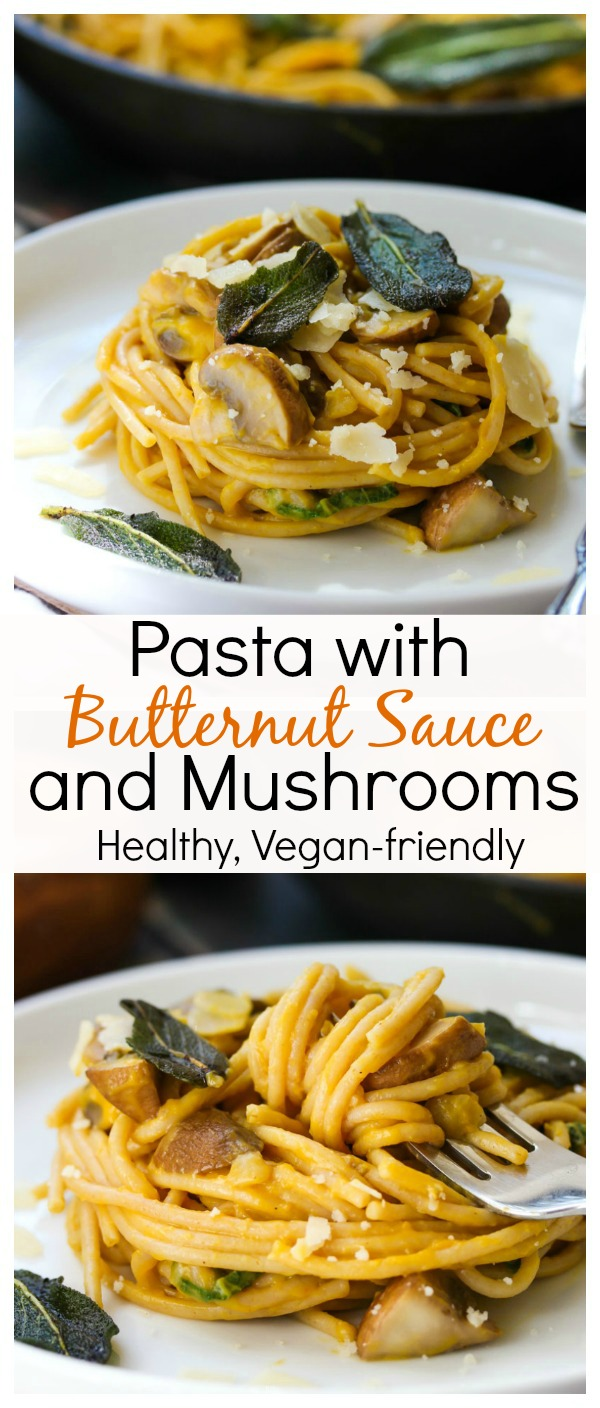 Pasta with Butternut Sauce and Mushrooms; healthy, vegetarian and vegan-friendly; dishingouthealth.com