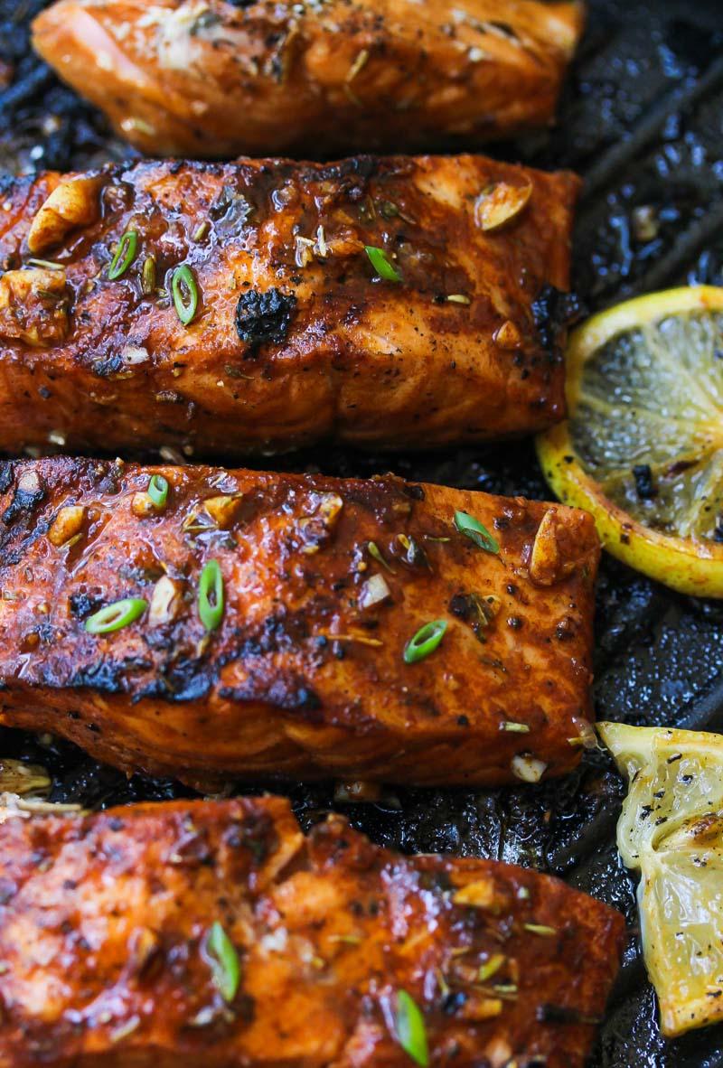 Mediterranean Salmon Bulgur Bowls | dishingouthealth.com