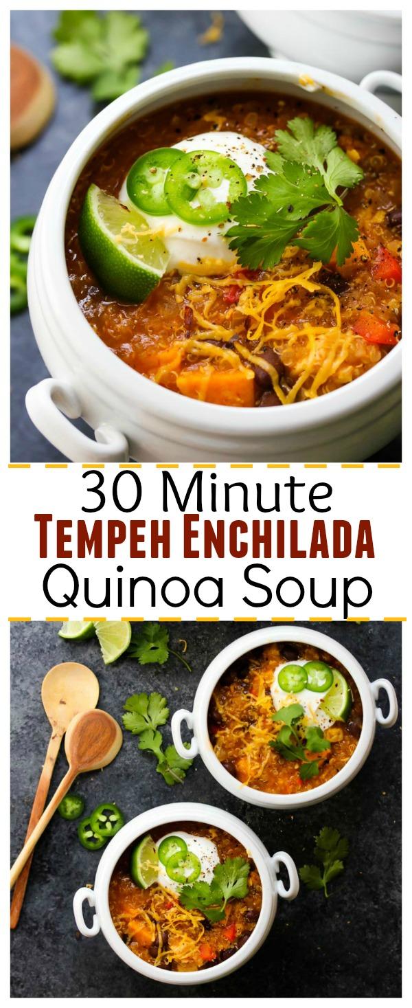 30 Minute Tempeh Enchilada Quinoa Soup; vegetarian, gluten free | dishingouthealth.com