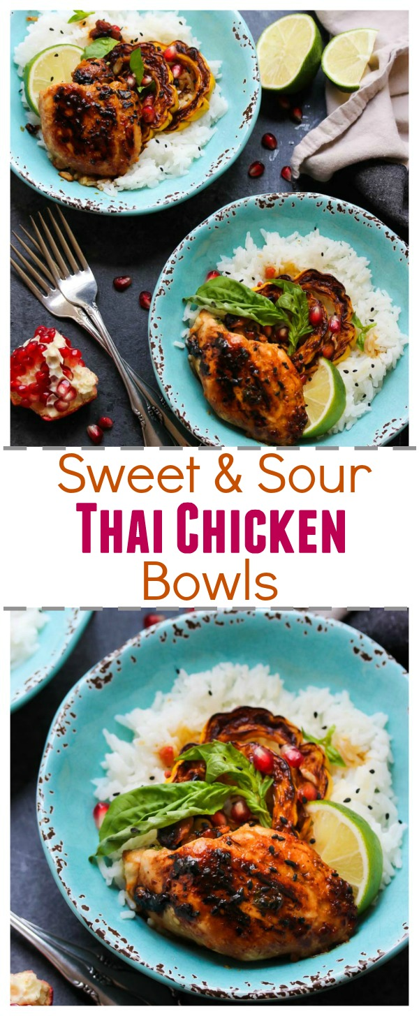 Sweet and Sour Thai Chicken Bowls (gluten free, weeknight-approved); #usenectar | dishingouthealth.com