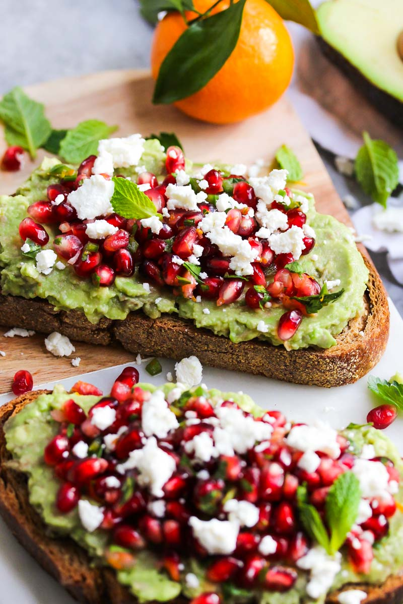 Avocado Toast with Pomegranate Salsa | dishingouthealth.com