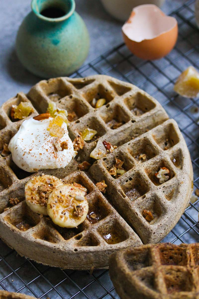 Buckwheat Eggnog Waffles | dishingouthealth.com