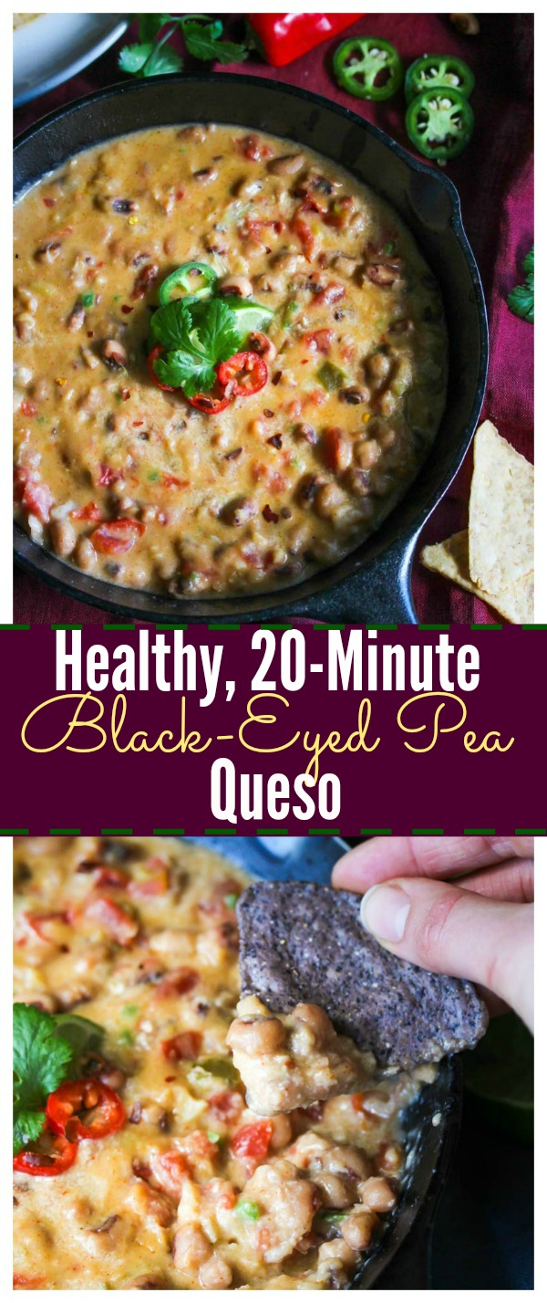 Healthy, 20-Minute Black-Eyed Pea Queso (gluten free, vegetarian) | dishingouthealth.com