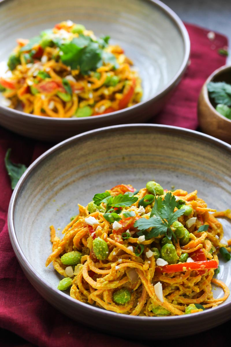 Vegan Curried Sweet Potato Noodle Bowls | dishingouthealth.com