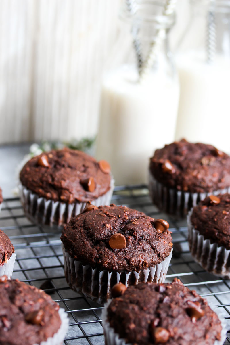 Double Chocolate Beet Muffins | dishingouthealth.com