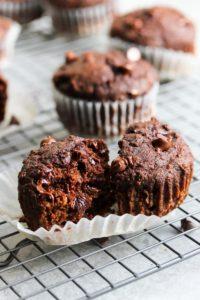 Double Chocolate Beet Muffins | dishingouthealth.com