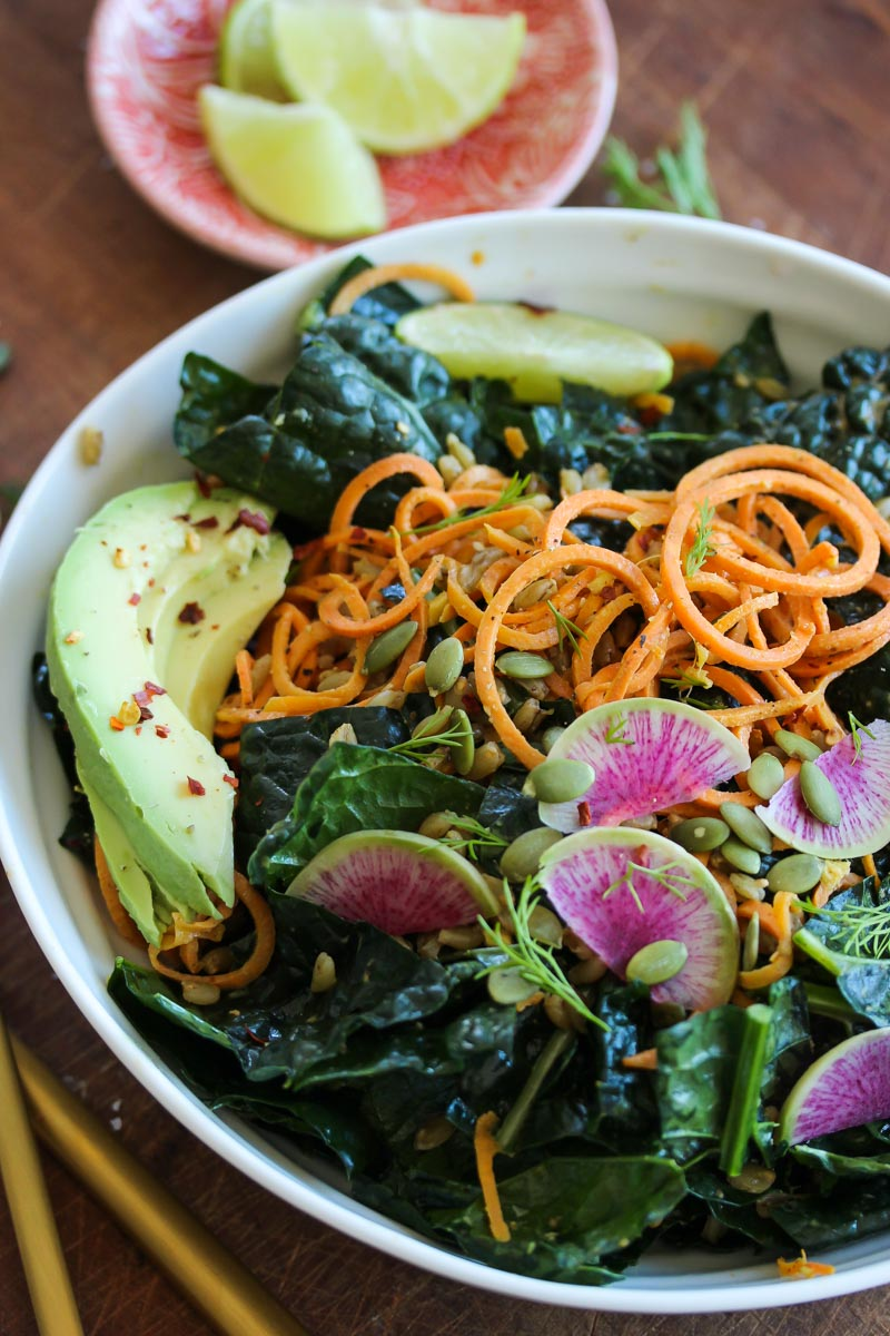 Sweet Potato Kale Salad with Almond Butter Dressing (vegan) | dishingouthealth.com