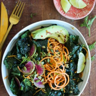 Sweet Potato Kale Salad with Almond Butter Dressing