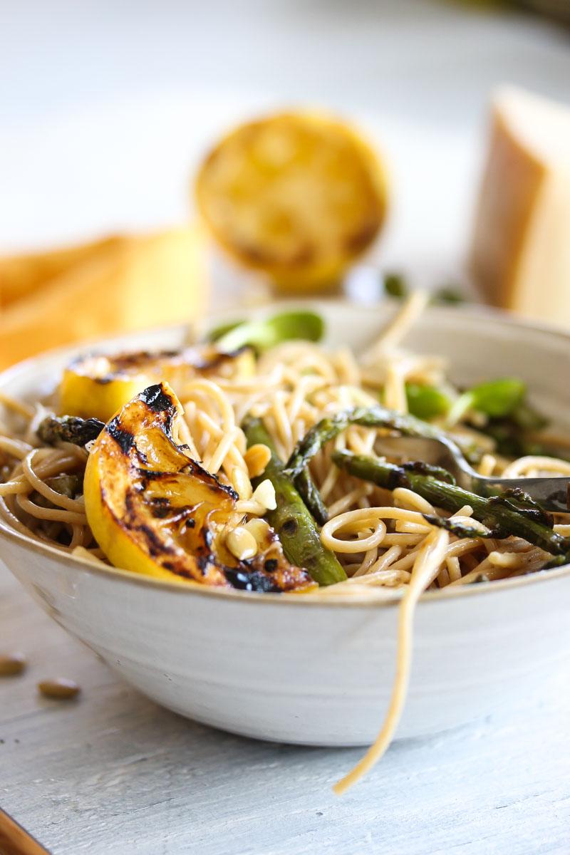 30 Minute Charred Asparagus and Lemon Pasta | dishingouthealth.com