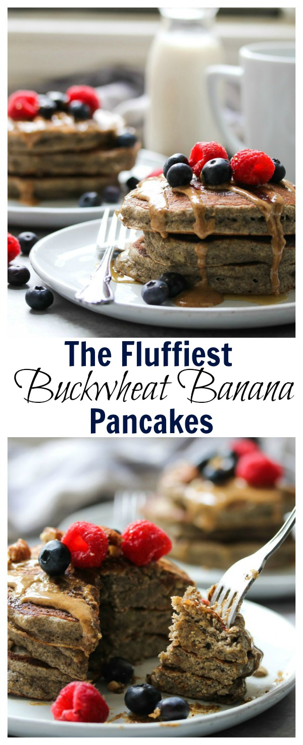 The Fluffiest Buckwheat Banana Pancakes | dishingouthealth.com