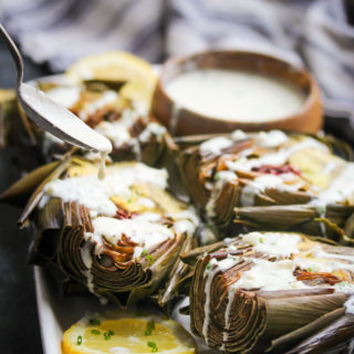 Roasted Artichokes with Herbed Buttermilk Dressing