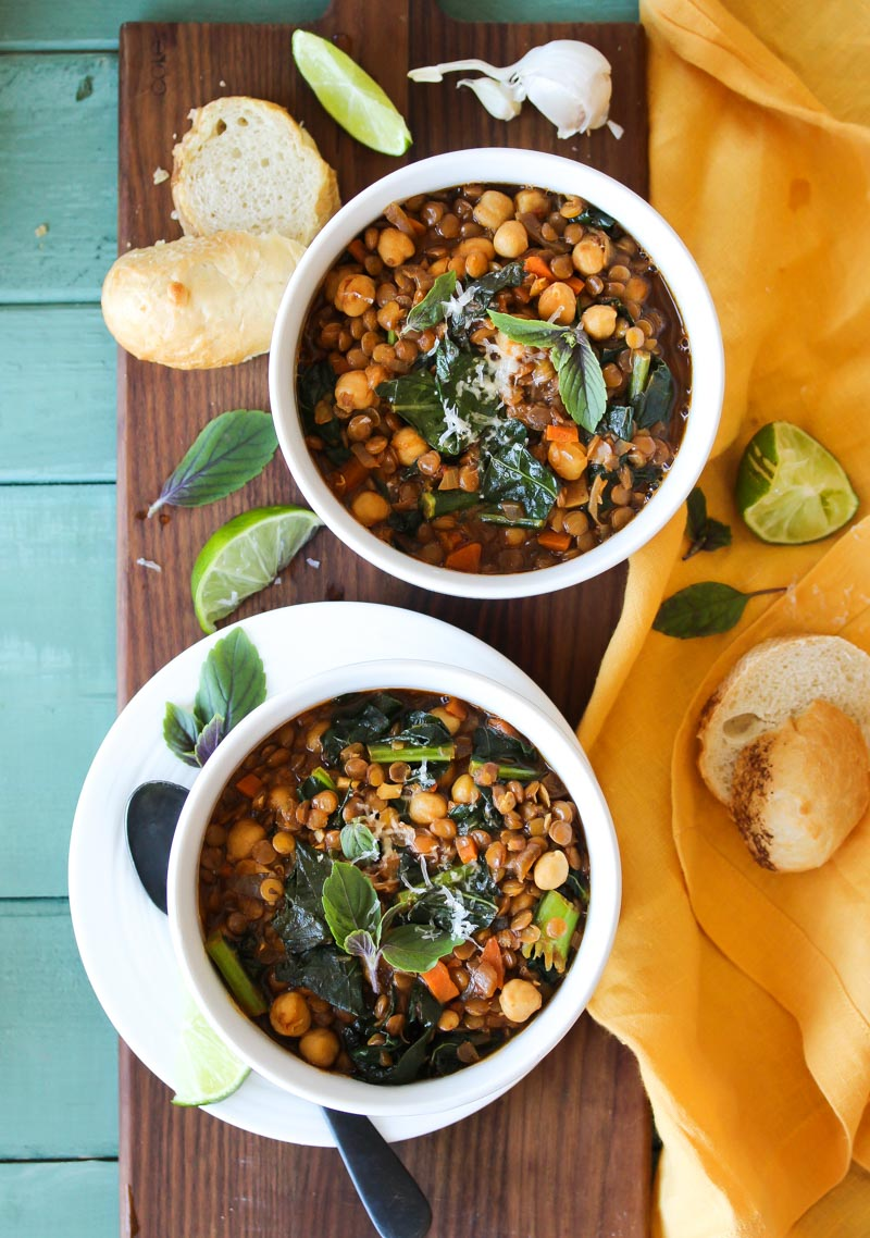 Smoky Chickpea Lentil Soup (vegan, gluten free)   dishingouthealth.com