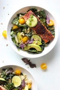 Blackened Salmon Bowls with Avocado Sauce | dishingouthealth.com