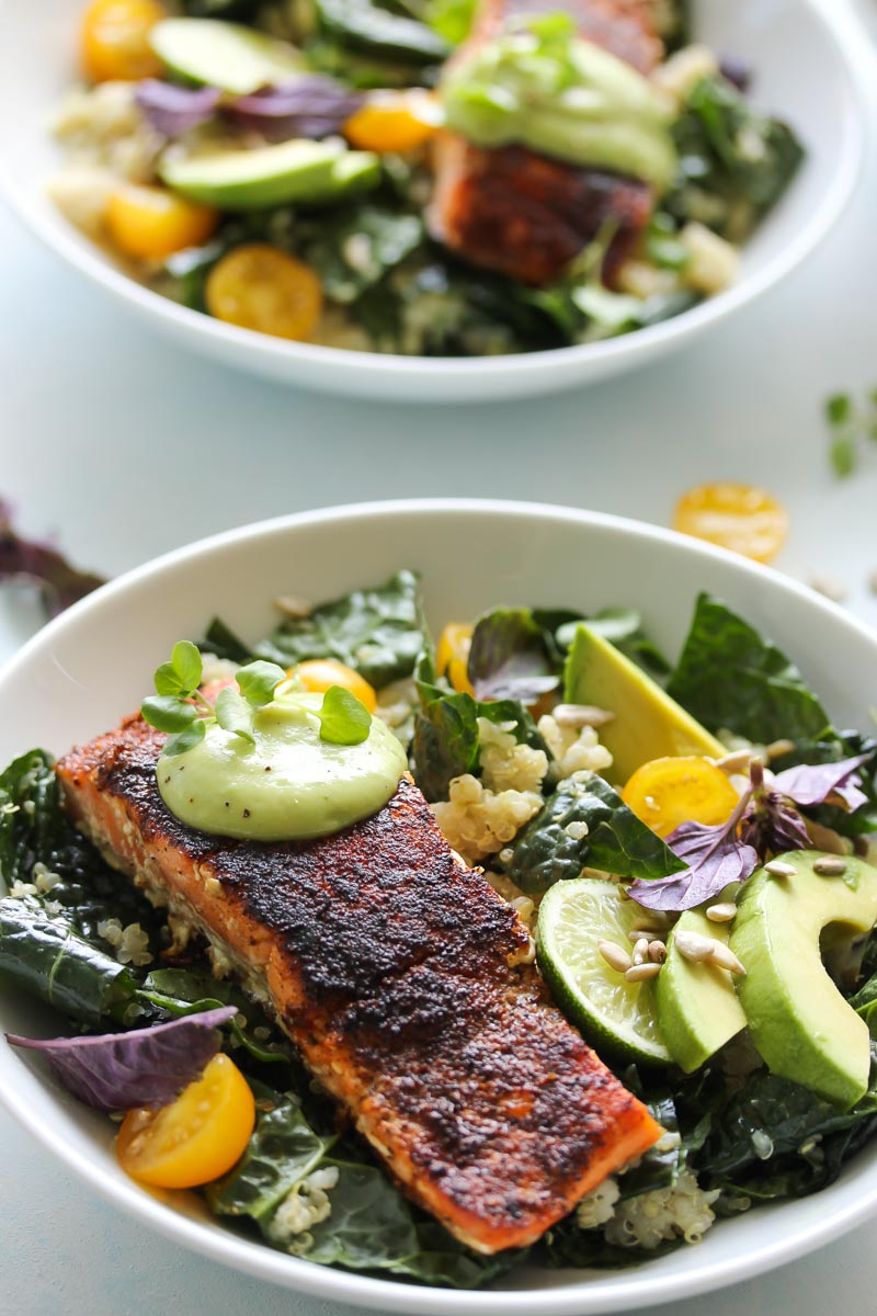 Blackened Salmon Bowls with Avocado Sauce | dishingouthealth.com