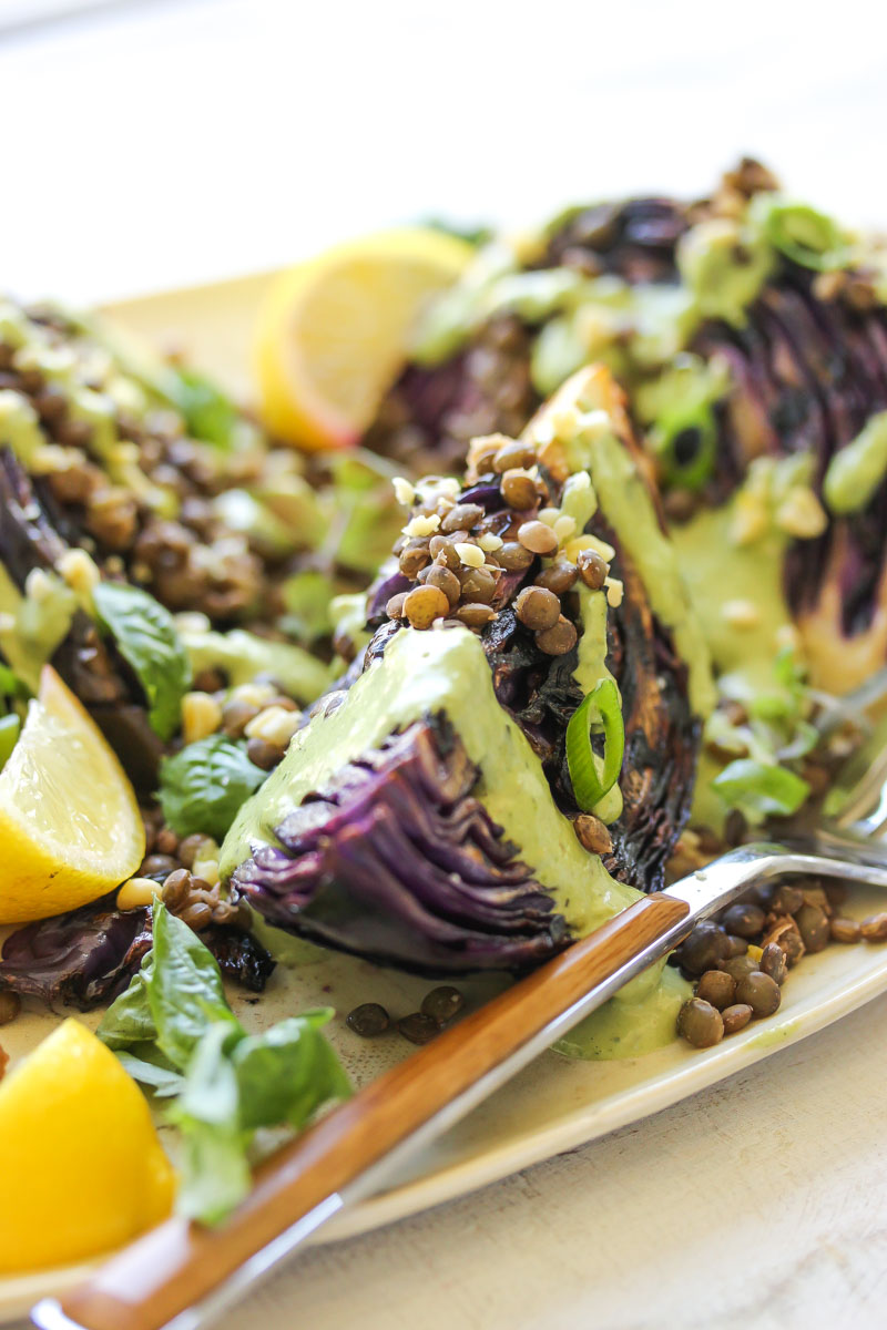 Charred Cabbage with Lentils and Green Tahini | dishingouthealth.com