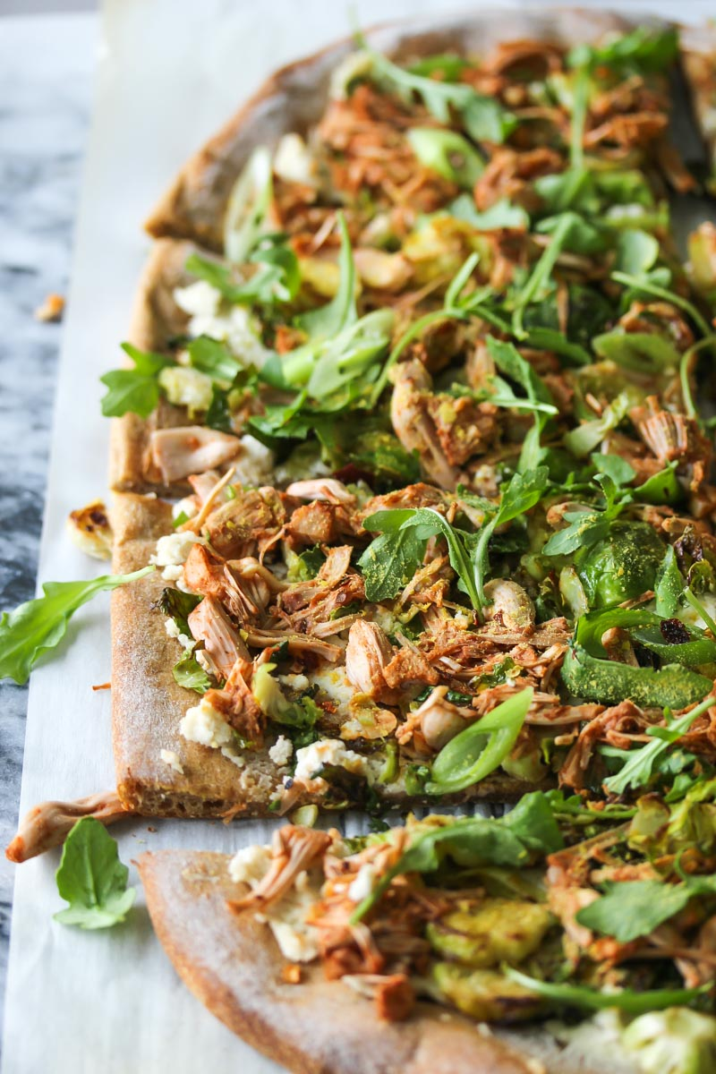 Jackfruit and Brussels Pizza with Almond Ricotta (vegan) | dishingouthealth.com