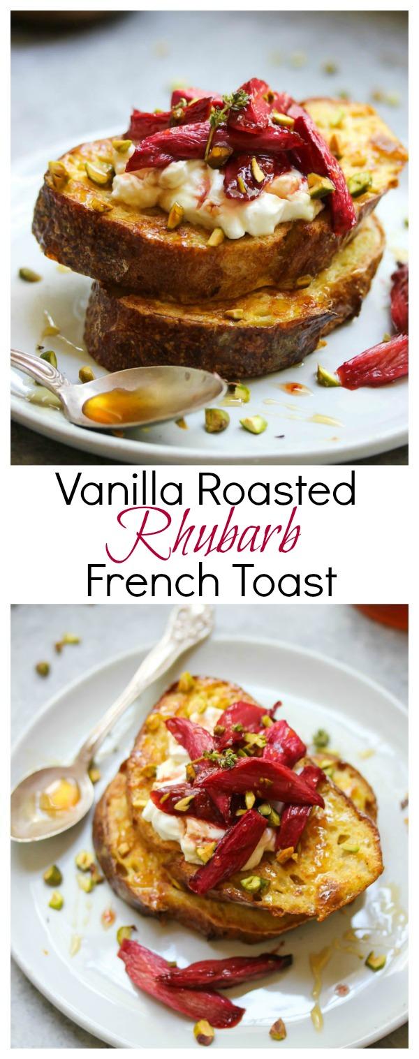 Vanilla Roasted Rhubarb French Toast | dishingouthealth.com