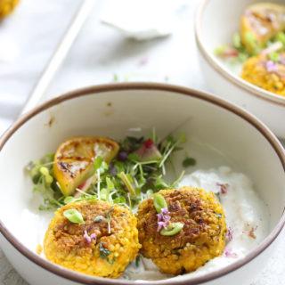 Turmeric Quinoa Falafel with Feta Yogurt Dip