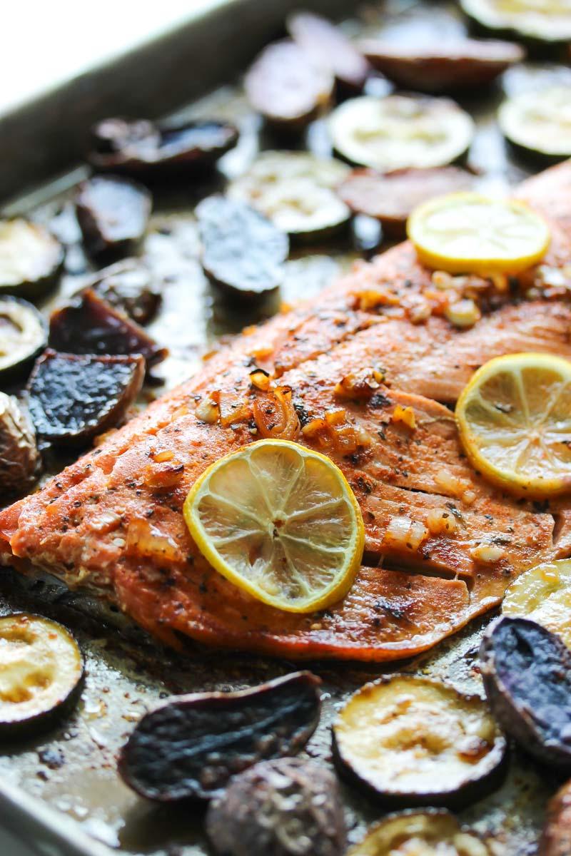 Sheet Pan Chili-Lemon Salmon | dishingouthealth.com